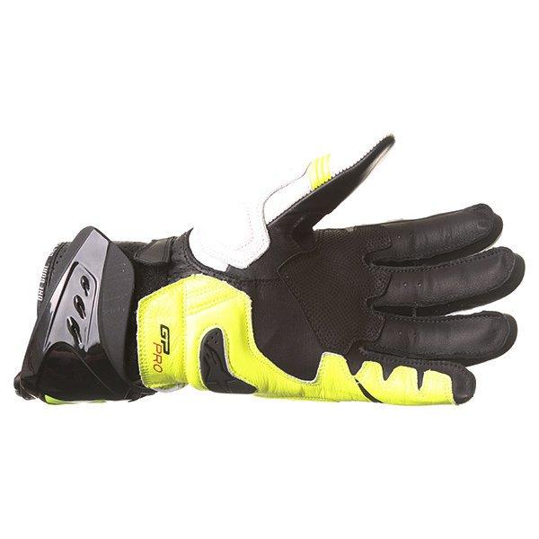 Alpinestars GP Pro R2 White Black Yellow Motorcycle Gloves Palm