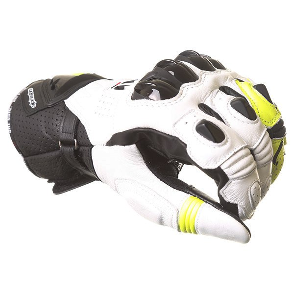 Alpinestars GP Pro R2 White Black Yellow Motorcycle Gloves Knuckle