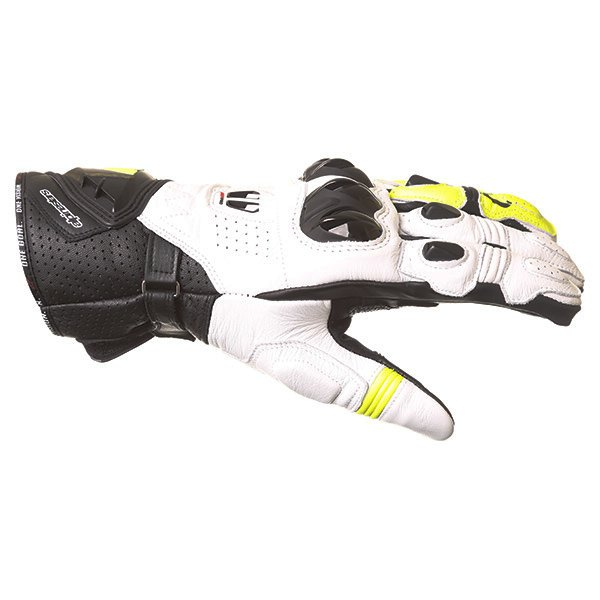 Alpinestars GP Pro R2 White Black Yellow Motorcycle Glove Thumb side