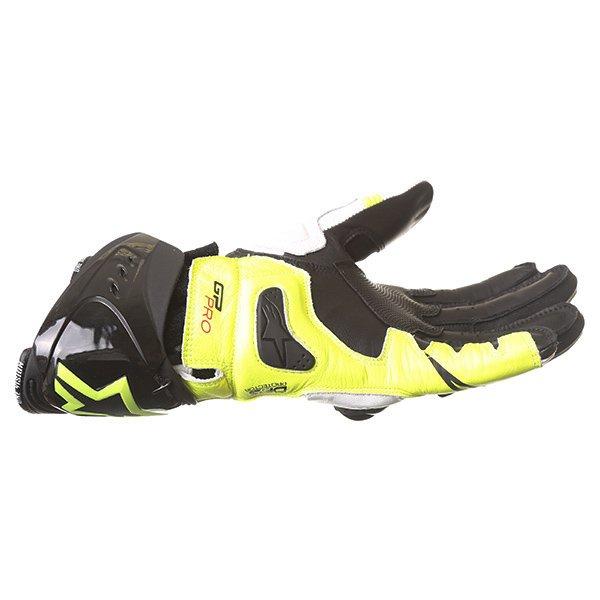 Alpinestars GP Pro R2 White Black Yellow Motorcycle Gloves Little finger side
