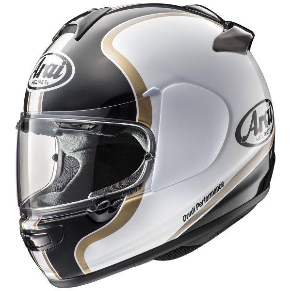 Arai Axces III Dual Black White Gold Motorcycle Helmet Front Left
