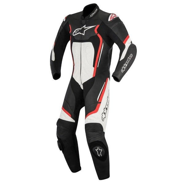 Alpinestars Motegi V2 1 piece Black White Fluorescent Red Leather Motorcycle Suit Front