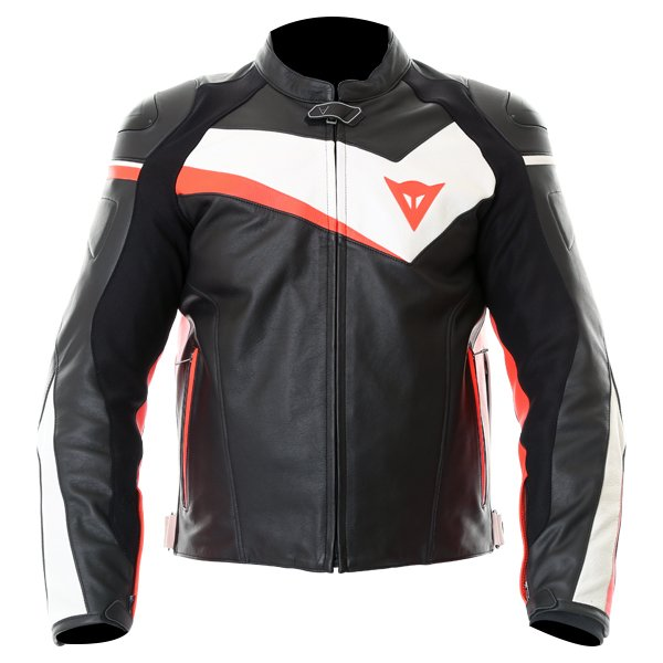 Dainese Velostar Black White Red Leather Motorcycle Jacket Front