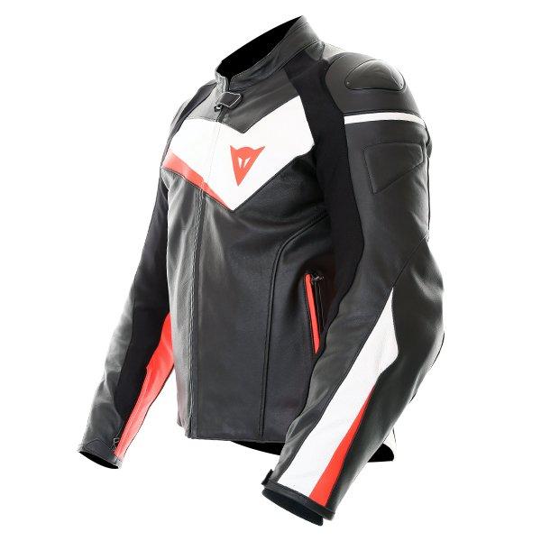 Dainese Velostar Black White Red Leather Motorcycle Jacket Side