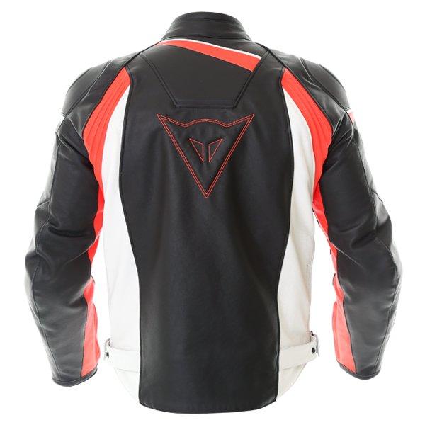 Dainese Velostar Black White Red Leather Motorcycle Jacket Back