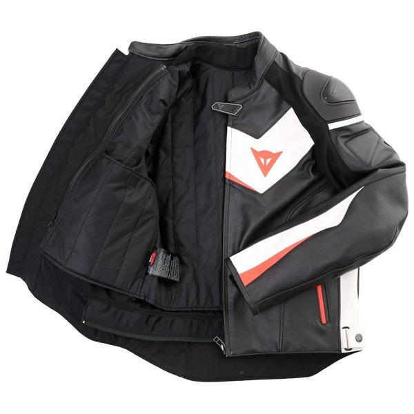 Dainese Velostar Black White Red Leather Motorcycle Jacket Inside