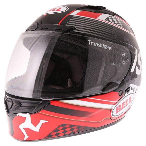 Bell Qualifier DLX Black Red IOM Full Face Motorcycle Helmet Front Left
