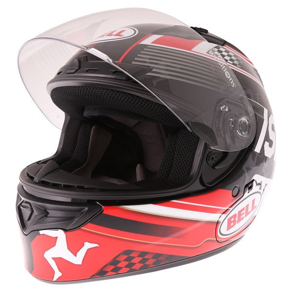 Bell Qualifier DLX Black Red IOM Full Face Motorcycle Helmet Open