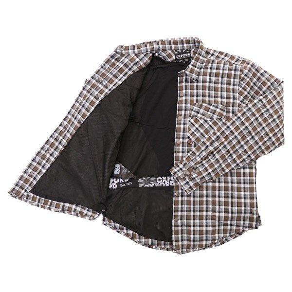 Oxford Products Kickback Checker Khaki White Shirt Inside