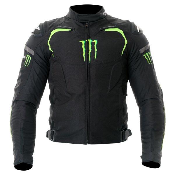 Alpinestars Backfire Mens Black Green Textile Motorcycle Jacket Front