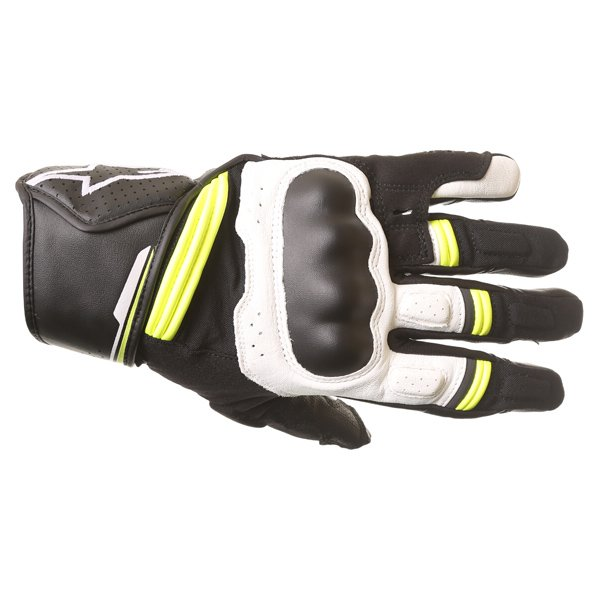 Alpinestars Booster Black White Fluo Yellow Motorcycle Gloves Back