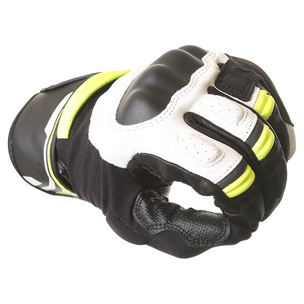 Alpinestars Booster Black White Fluo Yellow Motorcycle Gloves Knuckle