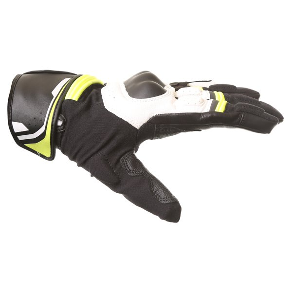 Alpinestars Booster Black White Fluo Yellow Motorcycle Gloves Thumb side