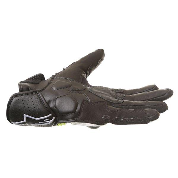 Alpinestars Booster Black White Fluo Yellow Motorcycle Gloves Little finger side