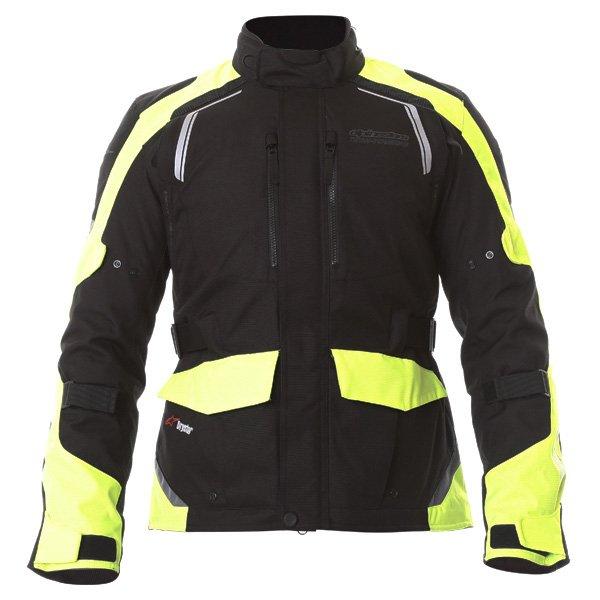 Alpinestars Andes V2 Drystar Mens Black Fluo Yellow Waterproof Textile Motorcycle Jacket Front