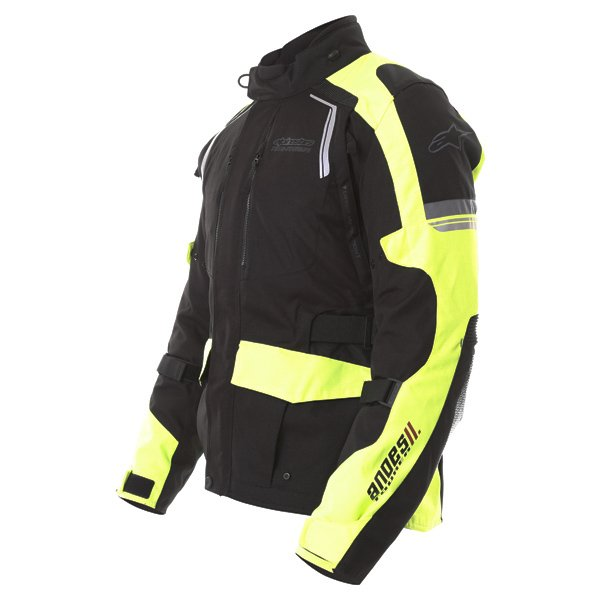 Alpinestars Andes V2 Drystar Mens Black Fluo Yellow Waterproof Textile Motorcycle Jacket Side