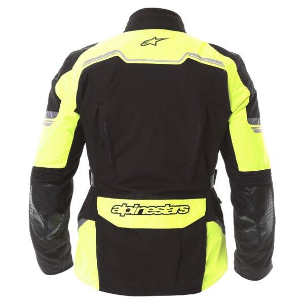 Alpinestars Andes V2 Drystar Mens Black Fluo Yellow Waterproof Textile Motorcycle Jacket Back