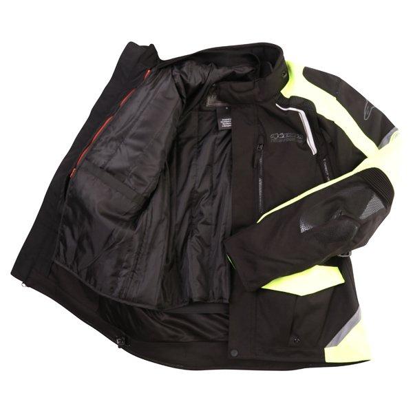 Alpinestars Andes V2 Drystar Mens Black Fluo Yellow Waterproof Textile Motorcycle Jacket Inside