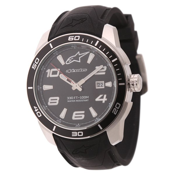 Alpinestars Steel 3H Tech Watch with Black Silicon Strap