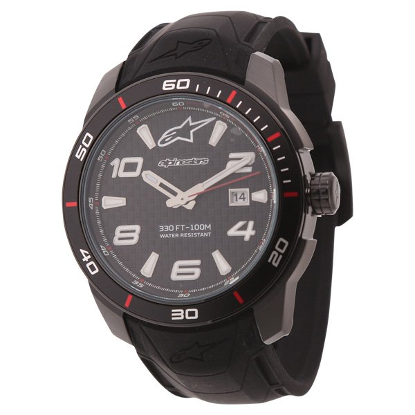Alpinestars Tech Watch 3H Black Silicon Strap Black Black Silicon Strap Black Black