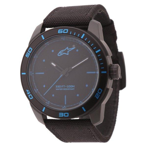 Alpinestars Tech Watch 3H Black Nylon Strap Black Blue Nylon Strap Black Blue