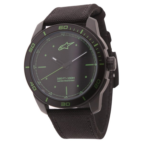 Alpinestars Black Green 3H Tech Watch with Black Nylon Strap