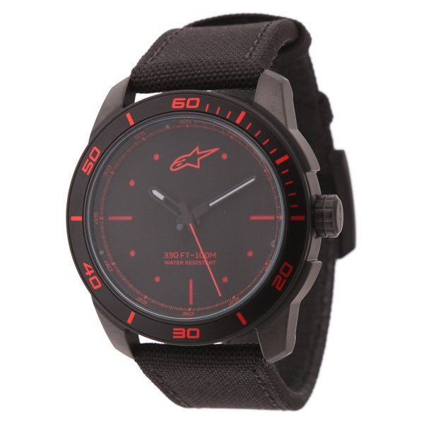 Alpinestars Black Red 3H Tech Watch with Black Nylon Strap