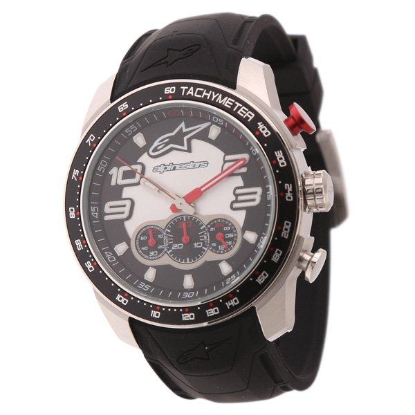 Alpinestars Steel Tech Watch Chrono with Black Silicon Strap