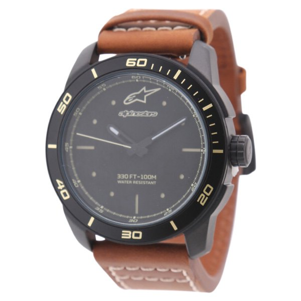 Alpinestars 3H Matt Black Tech Watch with Brown Leather Strap