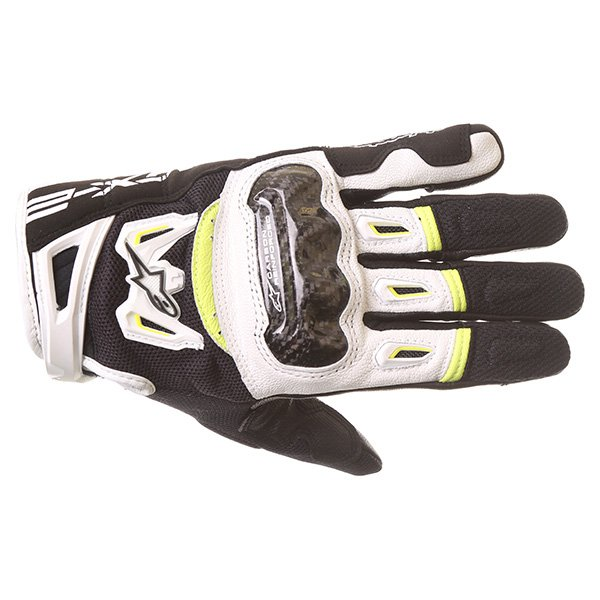 Alpinestars SMX-2 Air Carbon V2 Black White Fluo Yellow Motorcycle Gloves Back