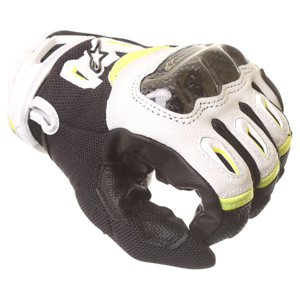 Alpinestars SMX-2 Air Carbon V2 Black White Fluo Yellow Motorcycle Gloves Knuckle
