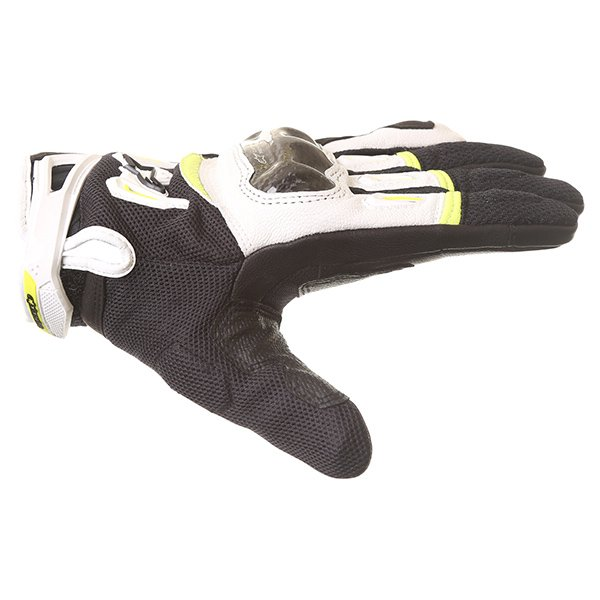 Alpinestars SMX-2 Air Carbon V2 Black White Fluo Yellow Motorcycle Gloves Thumb side