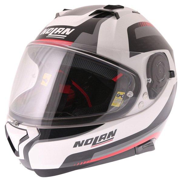 N87 Arkad N-Com Helmet 43 White Red Nolan Helmets