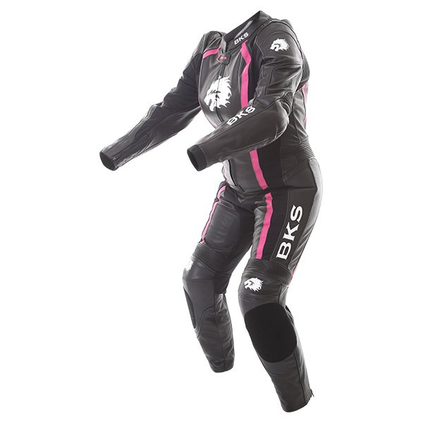 BKS Dakota 1 Piece Ladies Black Pink Leather Motorcycle Suit Racing crouch