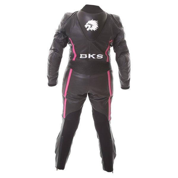 BKS Dakota 1 Piece Ladies Black Pink Leather Motorcycle Suit Back