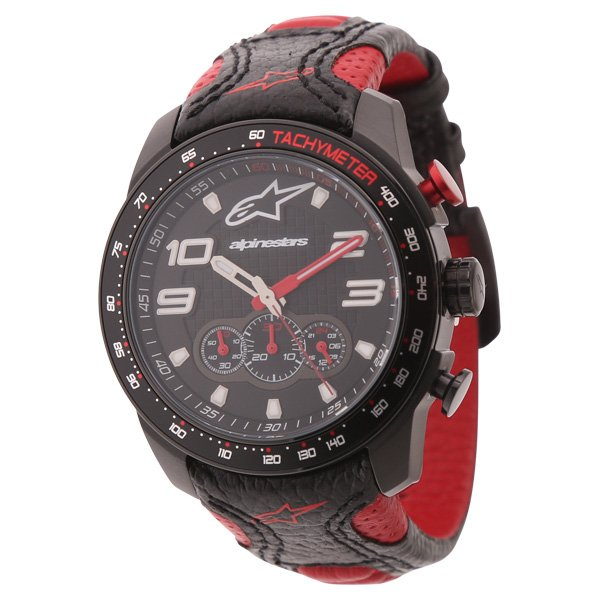 Alpinestars Tech Watch Chrono Black Red Leather Strap Black Red Leather Strap  Black Red
