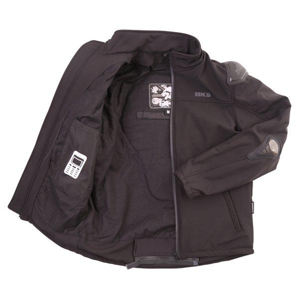 BKS Soft Shell Mens Black Textile Motorcycle Jacket Inside
