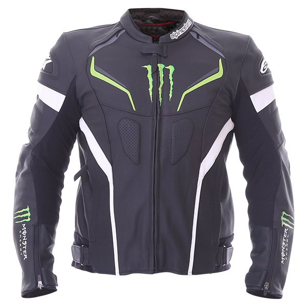 Alpinestars Shadow Monster Black White Green Leather Motorcycle Jacket Front