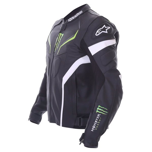 Alpinestars Shadow Monster Black White Green Leather Motorcycle Jacket Side