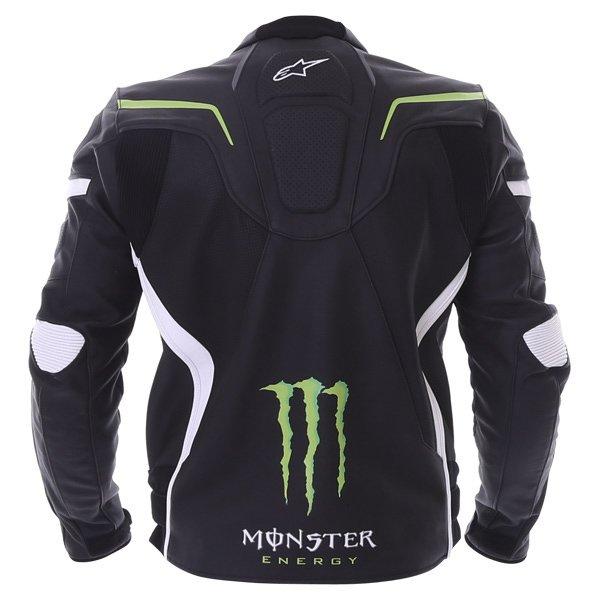 Alpinestars Shadow Monster Black White Green Leather Motorcycle Jacket Back