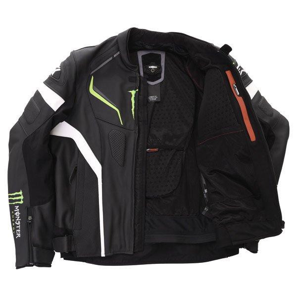 Alpinestars Shadow Monster Black White Green Leather Motorcycle Jacket Inside