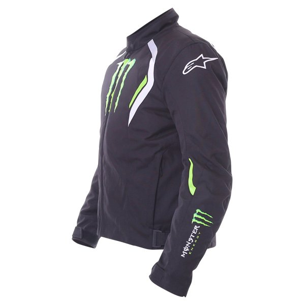 Alpinestars Spirit Monster Mens Black White Green Waterproof Textile Motorcycle Jacket Side