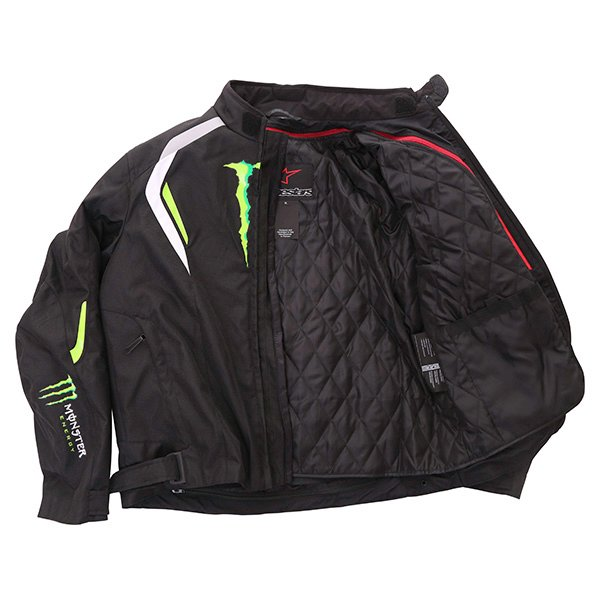 Alpinestars Spirit Monster Mens Black White Green Waterproof Textile Motorcycle Jacket Inside