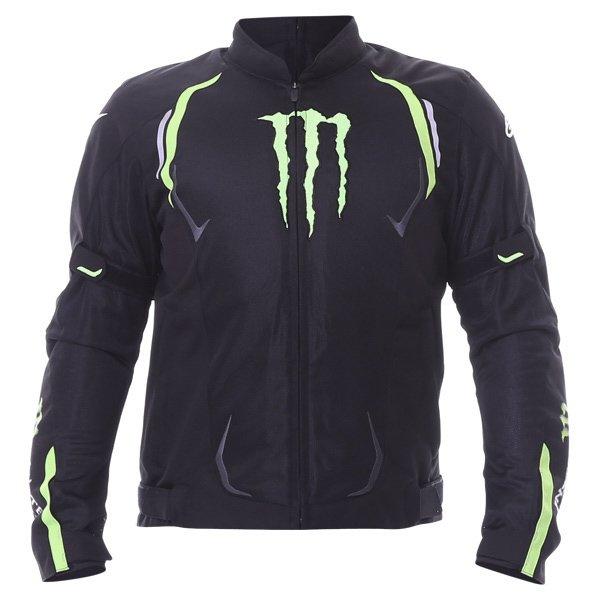 Alpinestars Juno Air Monster Mens Black Green Textile Motorcycle Jacket Front
