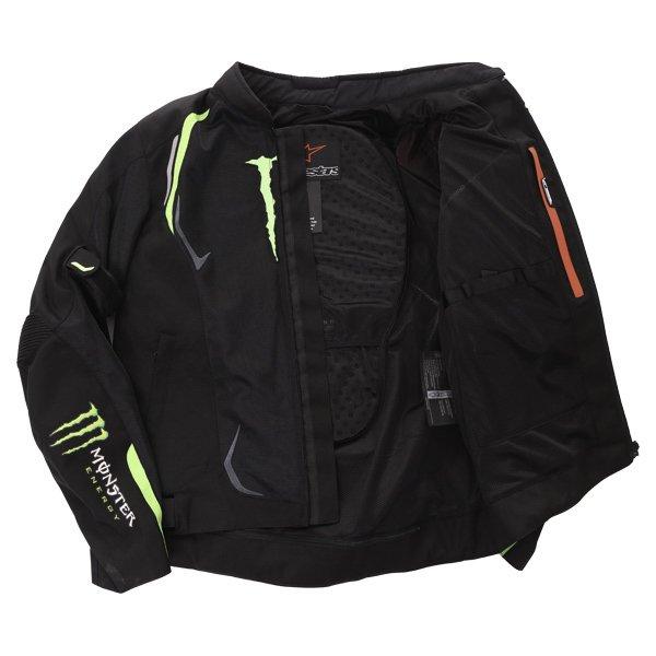 Alpinestars Juno Air Monster Mens Black Green Textile Motorcycle Jacket Inside