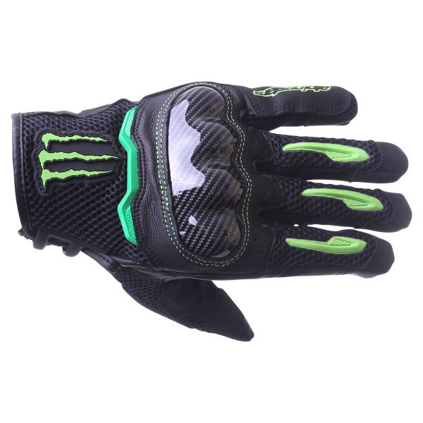 Alpinestars MX-10 Air Monster Black Green Motorcycle Gloves Back