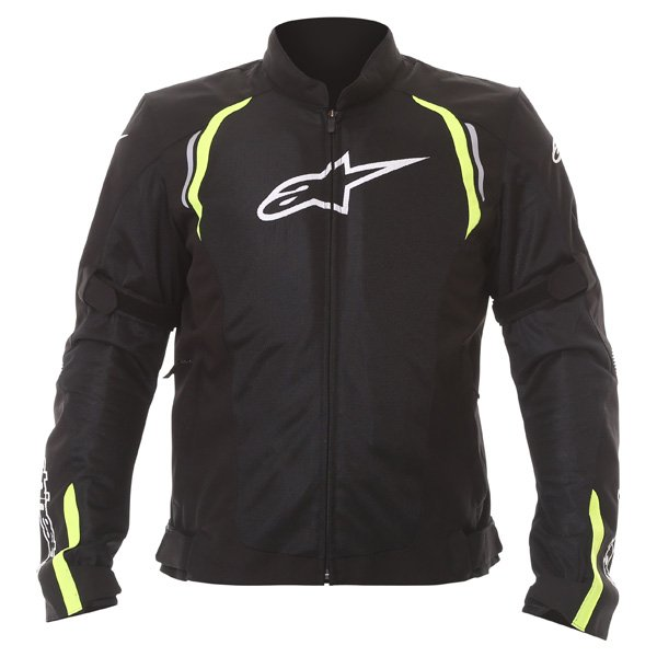 Alpinestars AST Air Mens Black Fluo Yellow Textile Motorcycle Jacket Front