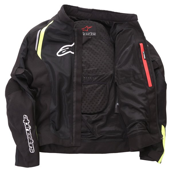 Alpinestars AST Air Mens Black Fluo Yellow Textile Motorcycle Jacket Inside