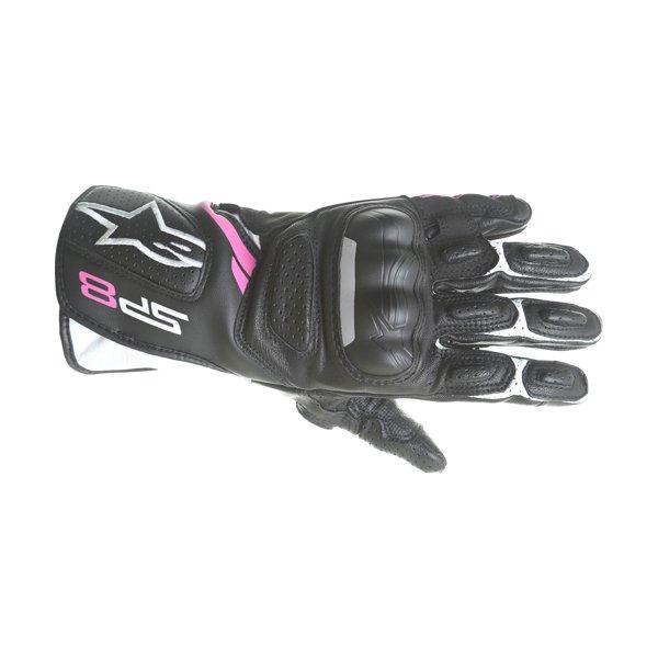 Alpinestars SP-8 V2 Ladies Black White Fuchsia Motorcycle Gloves Back