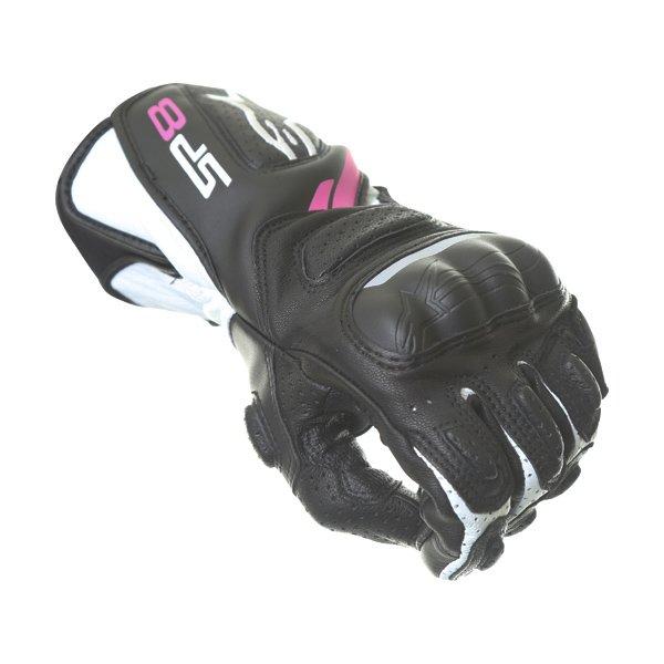 Alpinestars SP-8 V2 Ladies Black White Fuchsia Motorcycle Gloves Knuckle